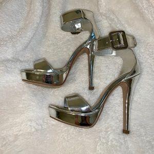 Shoes - Silver Platform Heels